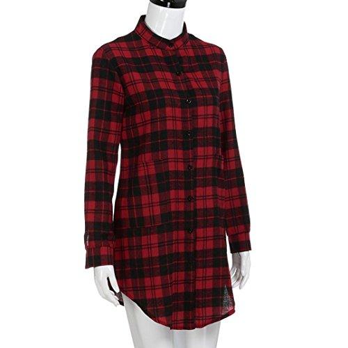 KOLY Da donna Mini vestito Abito a maniche lunghe in plaid a maniche ... 534424d1d38