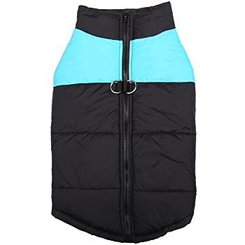 Treat Me Manteau Veste Automne Hiver pour Chien Moyen/Grand Imperméable avec Bande Réfléchissante Bleu L