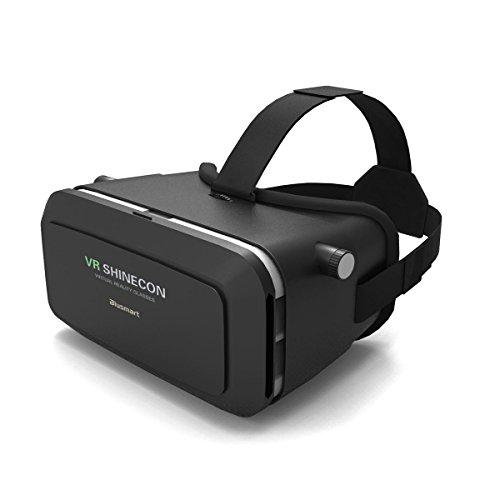 Blusmart 3D-VR-Brille, 3D-VR-Headset Virtual Reality Box mit verstellbarem Objektiv und Gurt für das iPhone 5 5s 6 Plus Samsung S3 Kante Hinweis 4 und 3,5-6 Zoll Smartphone für 3D-Filme und Spiele
