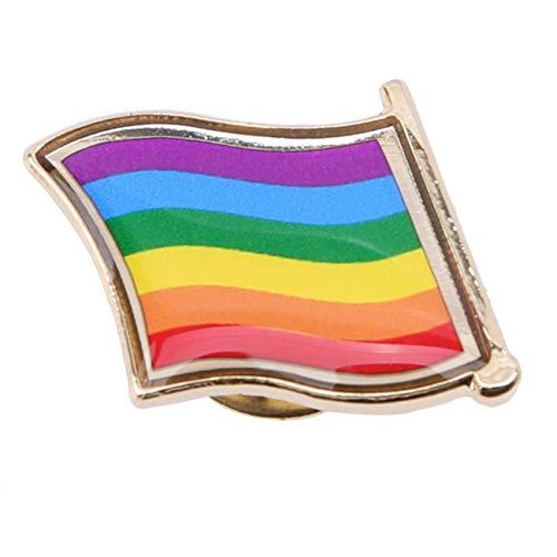 ZALING Regenbogenflagge Pinback Taste Abzeichen Unterstützung Homosexuell Lesbian Symbol Pin