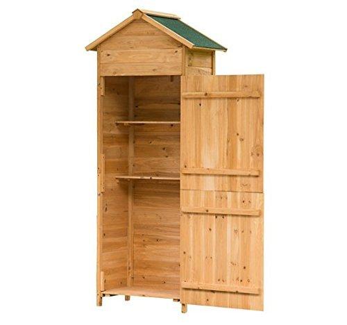 Outsunny armadio ripostiglio attrezzi da giardino giardinaggio da esterno porta attrezzi rimovibile con 2 porte giardino legno 79 x 49 x 190cm