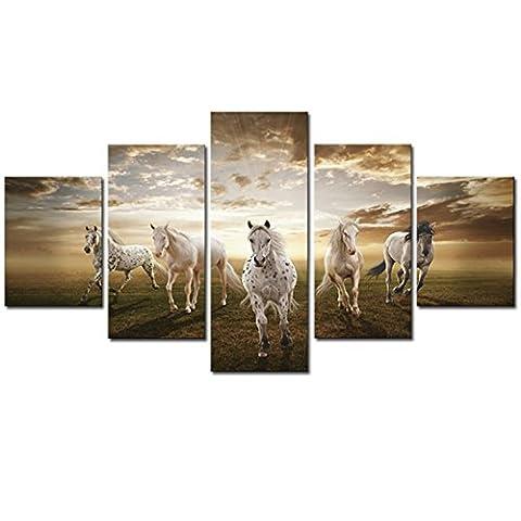 LianLe®Set 5PCS Tableau Peinture Huile Toile Oils Paintings Cheval Galopé