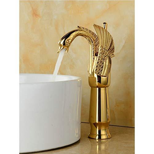 Forniture da cucina fashian europeo cigno bacino rubinetto dell'acqua calda e fredda/materiale di rame + nucleo valvola in ceramica/singola maniglia/oro alta sezione accessori per attrezzi