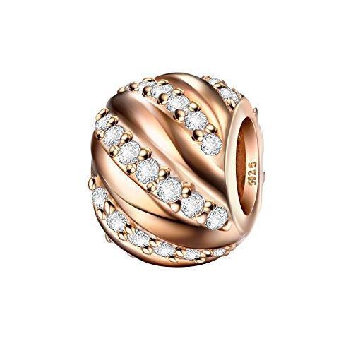 J.Endéar Charms Bead 925 Sterling Silber Daman Anhänger passt Pandora Armband Halskette Funkelnden Zirkonia mit Geschenk Box - Perlen Pandora Charm Armband