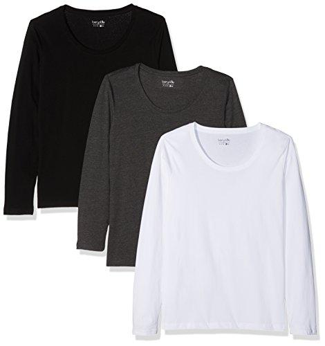 Berydale Damen für Sport & Freizeit, Rundhalsausschnitt Langarmshirt, 3er Pack, Mehrfarbig (Schwarz/Weiß/Anthrazit), Medium