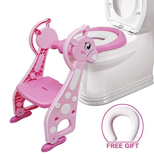 Toilettentrainer mit Treppe - Chairlin Töpfchentraining Toilettensitz WC Sitz kindertoilette, kinder toilettenstuhl, Kinder Toiletten Training für 2-7 jährige Kids, mit 2 Kissen (Rosa)