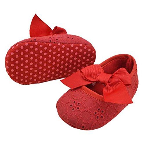 WOCACHI Kleinkind Mädchen Baumwoll Bandbowknot weiche Unterseite Blume Prewalker Krabbelschuhe (12, Gelb) Rot