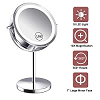 Benbilry Lighted Makeup mirror - LED Double Sided 1x/10x Magnification Cosmetic Mirror,7 Inch Battery-Powered 360 Degree Rotation Vanity Mirror with On/Off Push-Button (10x Button Switch Mirror)