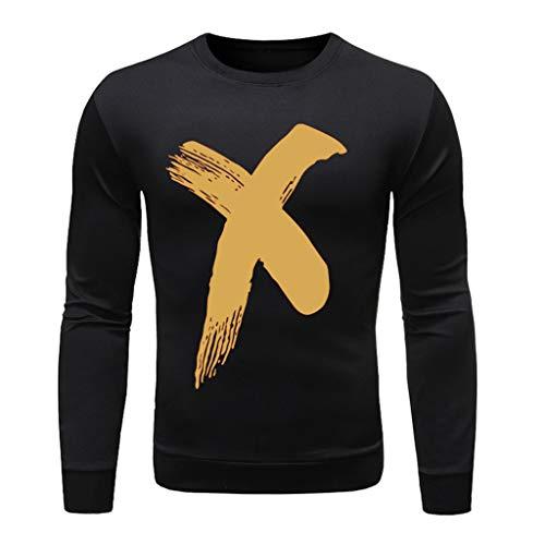 Xmiral T-Shirt Hemd Buchstabe Gedruckte Langärmlig Rundkragen Tops Einfach Oberteile Herbst Bodenbildung Wild Pullover Sweathshirt(m Schwarz,M)