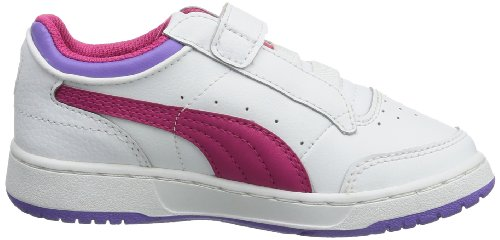 Puma Full court Lo V Kids 353649 Unisex-Kinder Sneaker Weiß (white-beetroot purple-dahlia purple 14)