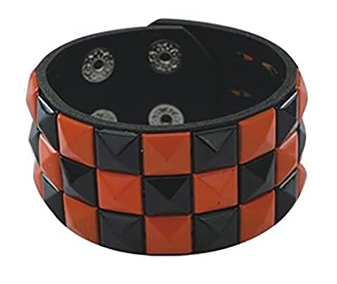 Orange & Black Studded Wrist Cuff Wristband Pyramid Stud 3