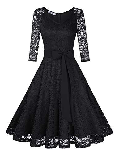 KOJOOIN Damen Vintage Kleid Brautjungfernkleid Knielang Langarm Spitzenkleid Cocktailkleid Schwarz...