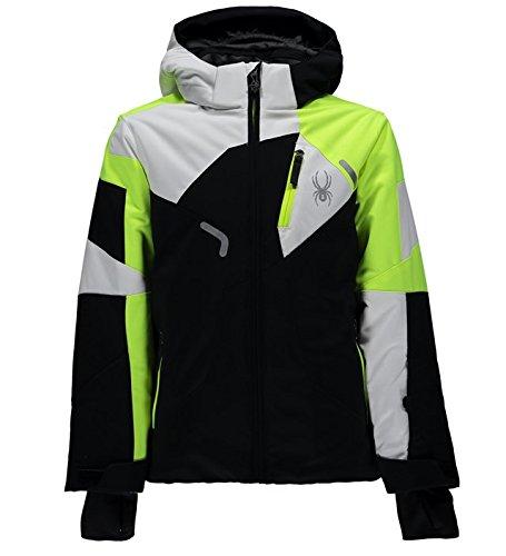Spyder Boy´s Leader Skijacket 231008-018 Schwarz/Neongelb/Weiß (16) (Spyder Kinder Für Skibekleidung)