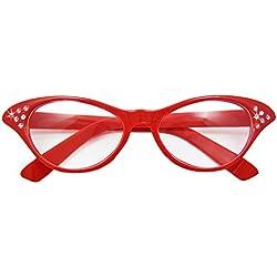 Das Kostümland Gafas de Ojo de Gato de los años Cincuenta Diamante - Accesorios Disfraz Fiesta 50s 60s (Rojo)