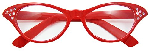 Ihr Rotes Kleid (Fifties Cat Eye Brille Diamond Rot)