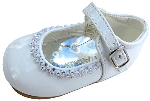 Mädchen Party Schuhe Hochzeit Taufe Brautjungfern Buckle Kleinkinder 1,2,3,4,5,6,7,8 Weiß