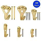 Bilderhaken, 150 Stück Bilderhaken, strapazierfähig, Bilderrahmen-Aufhängeset mit Nägeln zur Wandmontage, 4,5-100 lbs Packung, Gold.