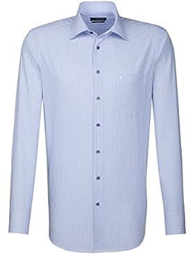 Seidensticker Herren Langarm Hemd Splendesto Regular Fit blau / weiß gestreift mit Patch 189716.13