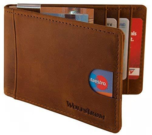 fb00de9b6269f Wolfstrøm cassa di carta di credito con marrone caso fermasoldi carta di  RFID in pelle -