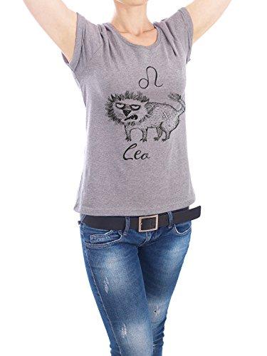 "Design T-Shirt Frauen Earth Positive ""Leo cat"" - stylisches Shirt Tiere Comic von Tatiana Davidova Grau"
