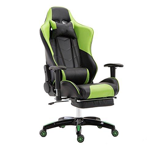 LZQ Racing Sportsitz Gamingstuhl Bürostuhl mit Fußstützen, PU Kunstleder Bürodrehstuhl, Chefsessel Schreibtischstuhl Drehstuhl mit Armlehnen, Wippfunktion und Höhenverstellbar (Grün-Schwarz) -