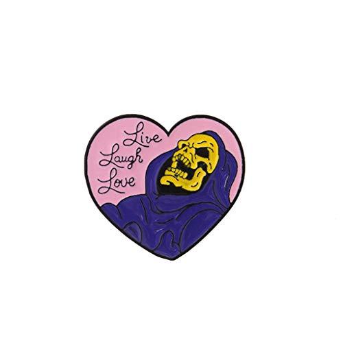 Hoxin Schädel-Herz Mode Brosche Kragen Pins, Corsage Badge Zubehör für Halloween Party Kleidung Dekoration (1 St.)