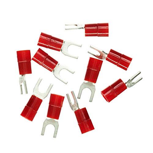 Haupa Quetsch-Gabelkabelschuh Isoliert 10 mm ² M6, 10 Stück, Rot, BLV260860