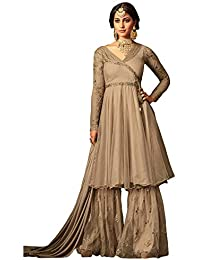 Like A Diva Embroidered Net Sharara Suit In Nude Colour For Women