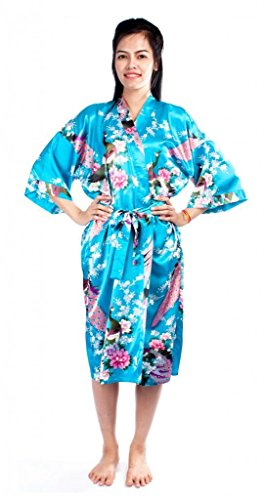 Lofbaz Damen Traditioneller Gedruckter Kimonos Pfau Hellblau