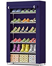 Zemic Multipurpose Portable Folding Shoe Racks for Home Organisers with Waterproof cover-6-Tiers- NavyBlue