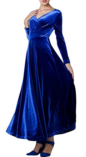 HOMEYEE Frauen Langarm-V-Ausschnitt Velvet Stretchy Big Hemline Abendkleid 730(EU 38 = Size M,Blau)