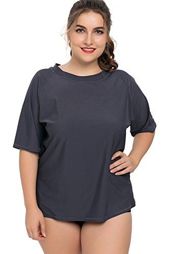 CharmLeaks Damen Große Größen Uv-Shirt Langarm Lockes Geschnitten UV-Schutz (UPF) 50+ Solid Grau XXXL (Bereich Shirt Damen)