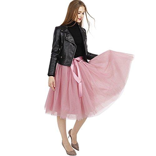 Tyhbelle Damen 7 Layer lang Tutu Tüll Röcke Gefalteter mit Gummizug Lolita Petticoat Tuturock (Mauverot) - 5