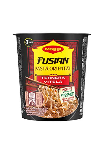 Maggi Fusian Pasta Oriental Noodles Sabor Ternera, Fideos Orientales - Paquete de...