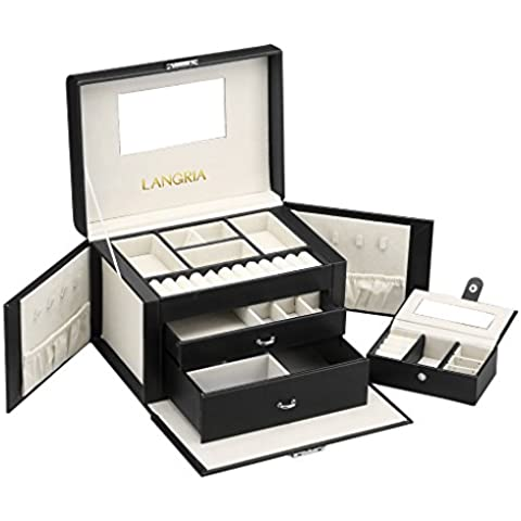 LANGRIA Caja Joyero, Caja para Joyerías, Organizador con Espejo y Bandejas para Almacenamiento de Anillos, Pendientes, Pulseras, Negro