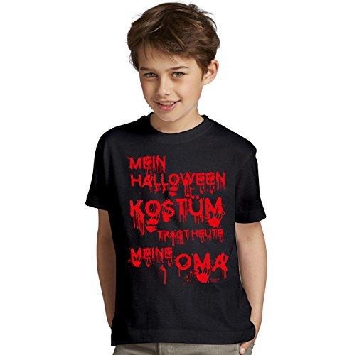 Halloween-Kostüm-Kinder-Jugend-Fun-T-Shirt Gruselig witziges Shirt für Kids Mädchen / Jungen Mein Halloween Kostüm trägt heute meine Oma Geister Gespenster Kürbis Outfit Geschenk Idee Farbe: schwarz Gr: (Oma Zombie Kostüm)