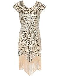 Ghope Femmes Années 20 Gatsby Art Deco Paillettes Ourlet Festonné Robe De Cocktail Flapper