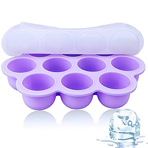 Silicone Ice Trays - CrazyLynX Ice Molds With Cover Large Ice Half Balls Molds Trays Maker,FDA Food Grade Silicone Flexible Reusable for Drinks Whiskey Baby Food Liquids Storage Containers,Purple
