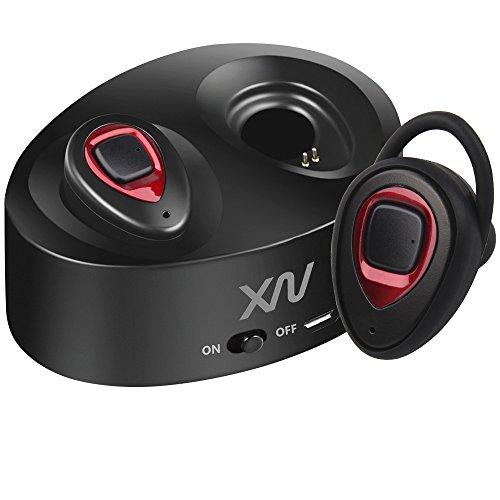 Foto de XIAOWU Auriculares inalámbricos verdaderos Bluetooth Auriculares Bluetooth V4.1 dual con micrófono incorporado y caso de carga Cancelación de ruido Mini auricular estéreo para iPhone Samsung iPad Android (K5-Rojo)