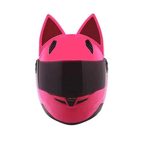 KeRuiLou Casco Moto Full Face Moto Cat Horns Donna Pink M