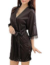 Ariel-gxr Damen Satin Kimono Morgenmantel Lang Bademantel Fauen Schlafanzug Negligee Nachthemd Nachtwäsche Unterwäsche V Ausschnitt mit Gürte und G-String