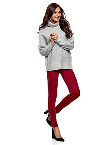 oodji Ultra Damen Jersey-Leggings mit Kunstledereinsatz Rot (4900N)