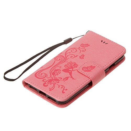Custodia iPhone 6S, Custodia iPhone 6, Cover iPhone 6, Cover iPhone 6S, ikasus® iPhone 6S/iPhone 6 Colorato verniciato Custodia Cover [PU Leather] [Shock-Absorption] Goffratura Fiore di farfalla e rag Rosa