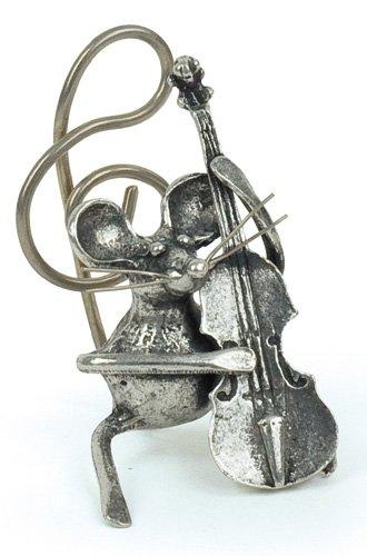Souris Contrebasse Miniature - Porte-Photo - Etain 95,5% - Fabriqué en France - Objet déco - Cadeau musique