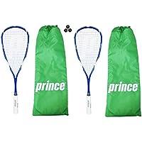 2 x Prince EXO3 Team Warrior 1000 Squash Racket + 3 Dunlop Pro Balls