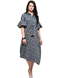 Inddus Blue Cotton Blend Woven Asymmetric Flared Dress