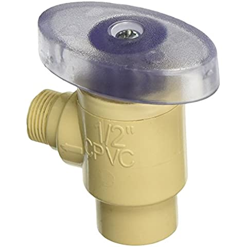 King Brothers INC. CAV - 0500-38c 1,27 cm antideslizante de 0,95 cm rejilla Pxl de compresión ángulo de cuarto de vuelta el Cpvc alimentación válvula,