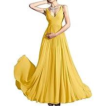 Vestido largo de la gasa de espagueti con cuello en V simple gasa de la dama de honor LES001