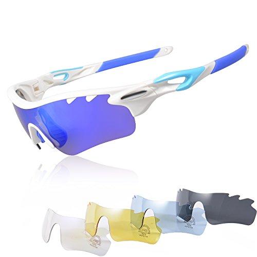 KuKoTi Radfahren Laufen Sport Sonnenbrillen für Männer Frauen, Brillen mit 5 Interchangeables Linsen für Ski Baseball Golf Angeln Laufen Fahren Superlight Rahmen