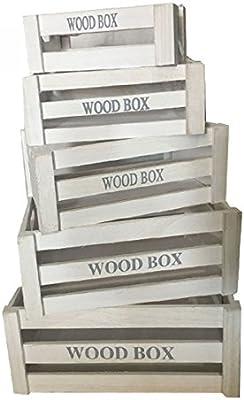 Caja de madera color blanco 22*12*7cm